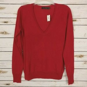 The Limited Vneck Sweater Wool Blend Thin Knit Red